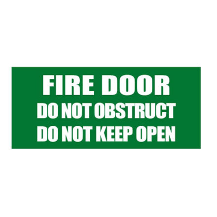 Fire Door - Do Not Obstruct Sign - Green