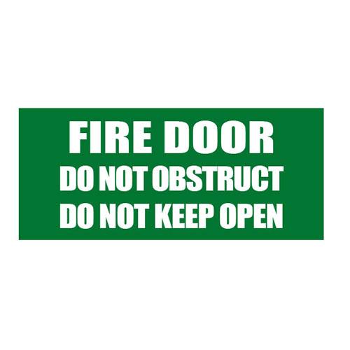 Fire Door - Do Not Obstruct Sign - Green